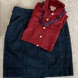 J Crew Factory Denim Skirt